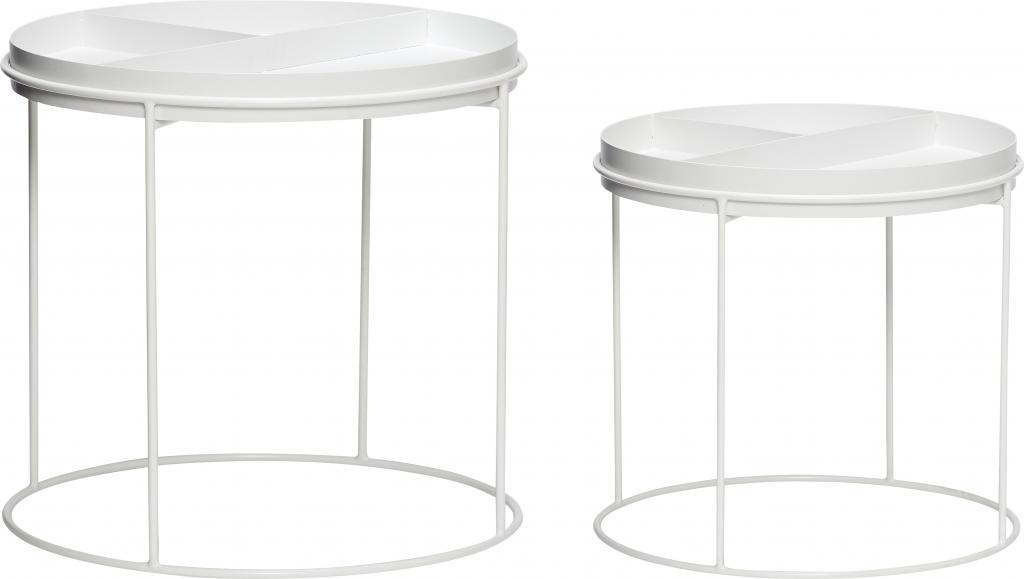 Salontafel Set Rond Wit.Hubsch Bijzettafel Set Van 2 Rond Wit Zwart Designwonen Com